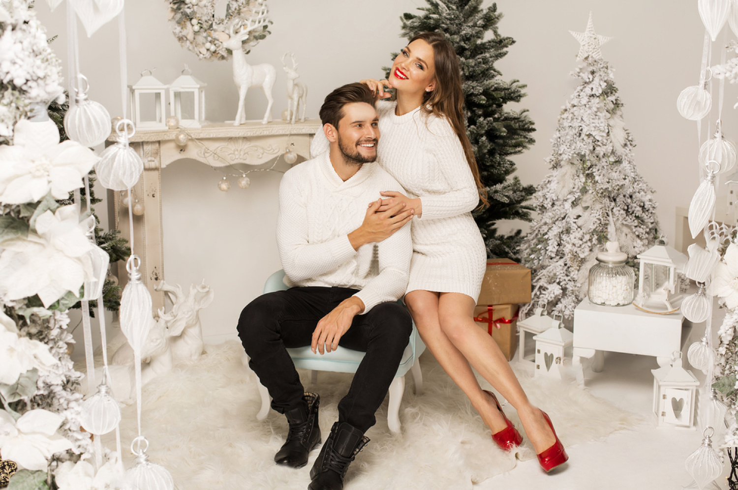stock photo beautiful happy couple in christmas scenery 348344126