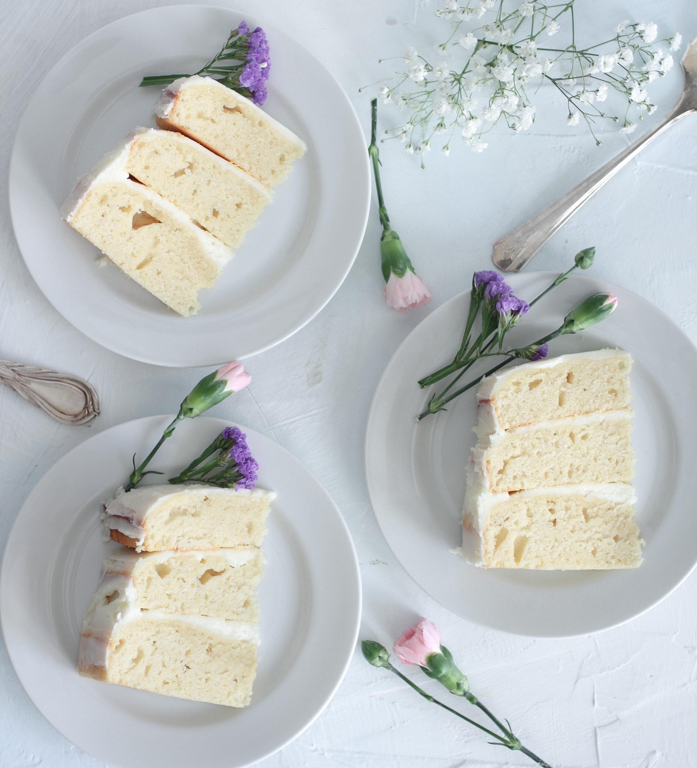 vegan cakes displayed on china plates