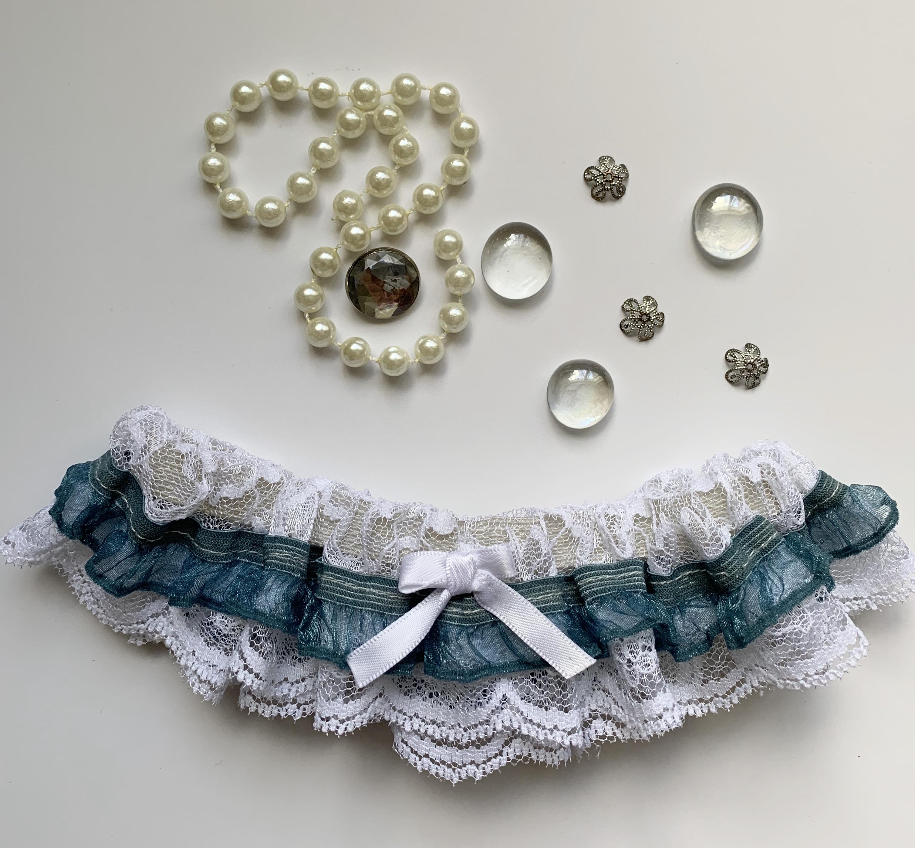 Blue and white garter something blue