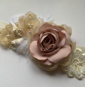Ivory and dusty pink Vintage sash belt