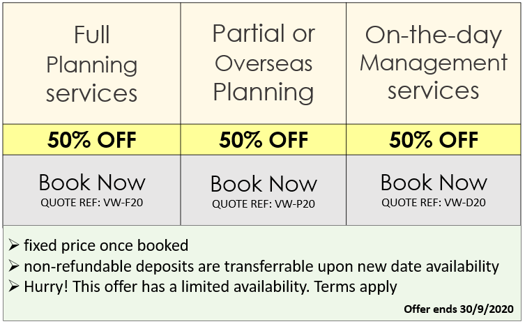 Exclusive COVID-19 Wedding Lockdown planning offers valid in the UK from VWUK